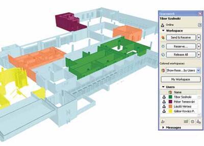 Рис. 2. Технология совместной работы Teamwork 2.0, реализованная в ArchiCAD 13, позволяет группам проектировщиков наглядно работать над единой BIM#моделью