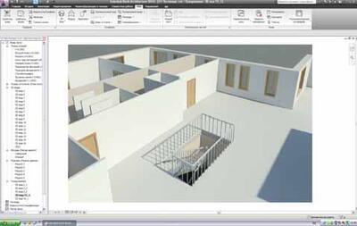 Фрагмент представления в 3D: видны перекрытие, отверстие и лестница