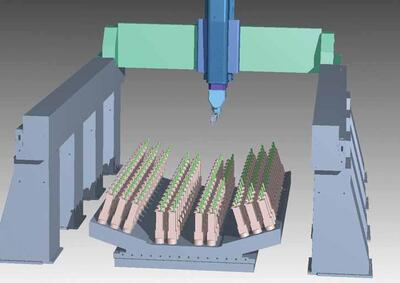 Рис. 13. Кинематическая VERICUT#модель станка для обработки листовых деталей