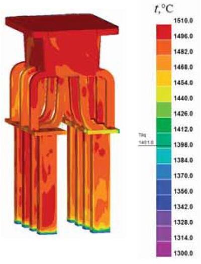 Рис. 5. Температурное поле отливки в конце расчета заполнения формы
