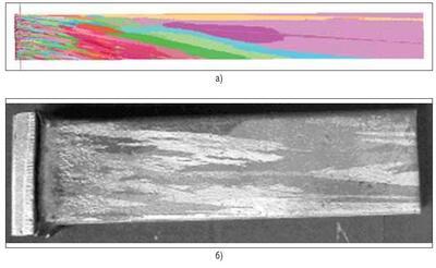 Рис. 7. Моделирование зеренной структуры: а) результаты расчета в модуле CAFE; б) фотография опытного образца