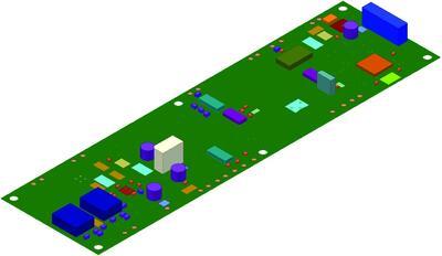 Рис. 1. Внешний вид платы, импортированной в Autodesk Inventor с помощью IDF-формата