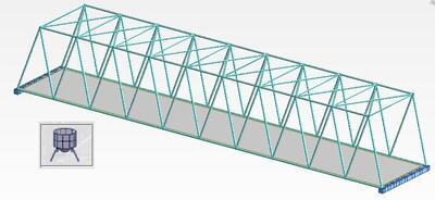 Рис. 15. Схема однопролетного моста (используется расчетная схема для проектирования оболочечных конструкций)