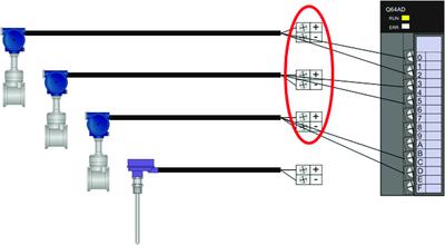 Рис. 5. Подключение датчиков к блокам питания