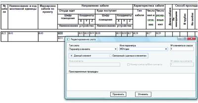 Рис. 13. Пример шаблона для формирования табличного документа «Кабельный журнал»