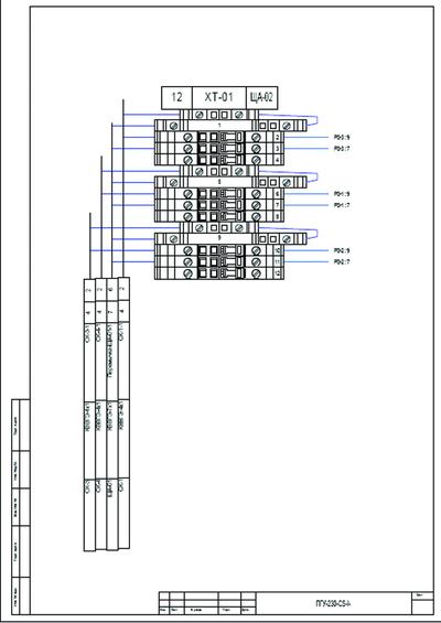 Рис. 14. Фрагмент документа «Подключение кабелей к рядам зажимов»