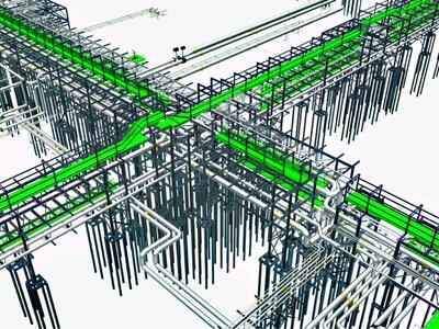 Рис. 3. 3D-модель инженерных сетей на эстакадах. Площадка ЦПС Южное Хыльчую. PLANT-4D