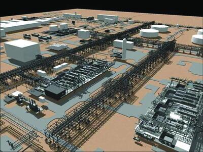 Рис. 4. 3D-модель площадки ЦПС Южное Хыльчую. PLANT-4D