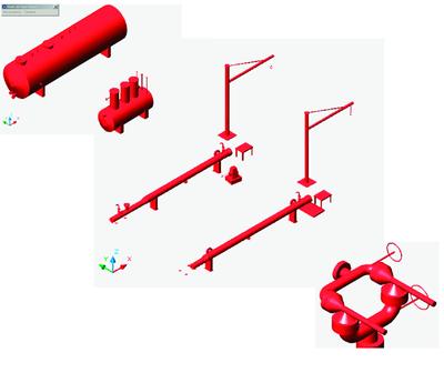 Рис. 7. Создание трехмерных узлов, компоновок, условных обозначений в PLANT-4D