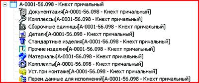 Рис. 7. Структура и разделы объекта «Спецификация КД»