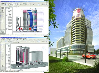 Рис. 6. Антон Столяров.Проект делового центра. Курсовая работа. Модель выполнена в Autodesk Revit Architecture. НГАСУ (Сибстрин), 2008 г.
