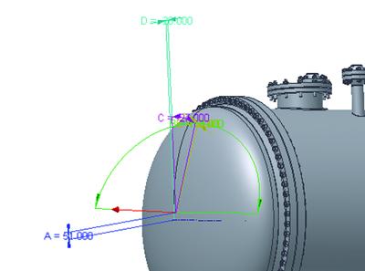 Рис. 32. Предварительная ориентация штуцера на днище
