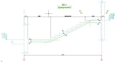 Рис. 2. Применение вспомогательных линий для точного размещения арматуры