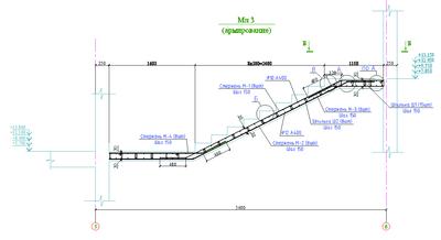 Рис. 8. Окончательная схема армирования главного разреза лестничного марша