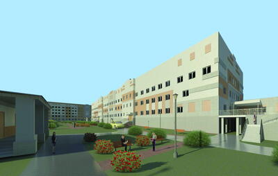 Медицинский комплекс в городе Кулебаки Нижегородской области. Вид со стороны внутреннего двора комплекса