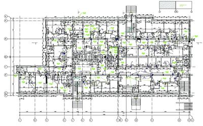 Здание роддома. Кладочный план первого этажа блока А