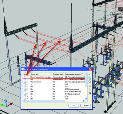 Рис. 1. Трехмерная визуализация механического расчета провода