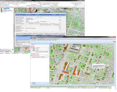 Рис. 1. Визуализация данных ИСОГД городского округа Домодедово, включая ДДЗ, в специализированном приложении UrbaniCS и в портальном приложении CS UrbanView