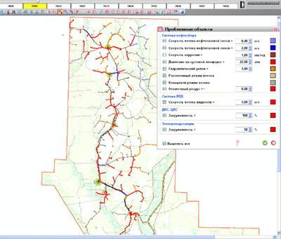Участок карты с отображением проблемных зон на 2010 год