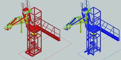 Использование в Model Studio оборудования, созданного из примитивов AutoCAD (справа – исходный объект, слева – объект Model Studio)