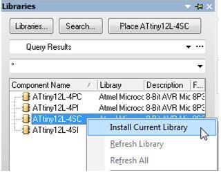 Рис. 16. Установка библиотеки Atmel Microcontroller 8-Bit AVR.IntLib