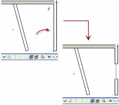 Рис. 14. …указываем вторую точку: жирная точка на «резиновой» линии обозначает точку вставки объекта