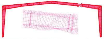 Рис. 2.4.1. Потеря устойчивости стенки рамы пролетом 36 м из сварных двутавров переменного сечения по первой форме в программе SCAD. Коэффициент запаса устойчивости – 1,76