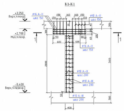 Пример чертежа из проекта подземных гаражей