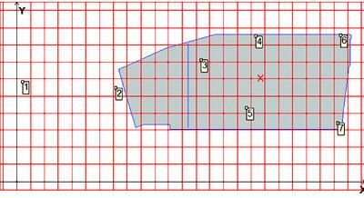 Рис. 4. Схема плиты со скважинами (шаг сетки 5х5 м)