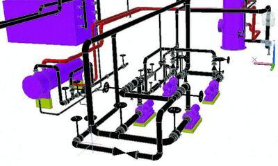 Рис. 1. Пример трехмерной модели, выполненной в AutoCAD Plant 3D 2012 (учебный проект)