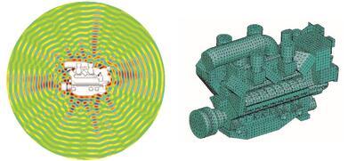 Рис. 1. Пример расчета акустики корабельного дизельного двигателя. Источник: FFT