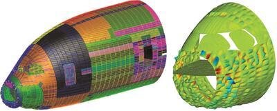 Рис. 3. Расчетная модель для анализа акустики передней части фюзеляжа самолета. Источник: Airbus