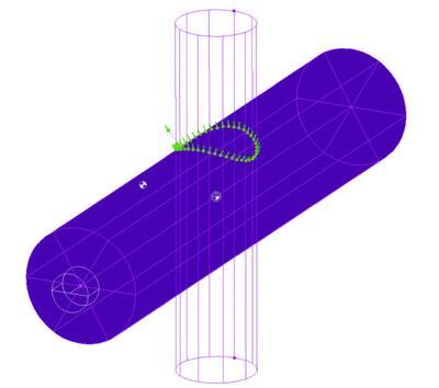 Рис. 7. Обработка контура ведется в режиме проецирования на цилиндр