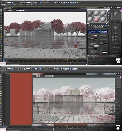 Рис. 3. Создание сцены для рендеринга с помощью V-Ray RT и Progressive Rendering