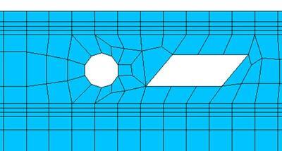 Пример сетки с введенным образцом отверстия