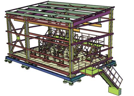 Рис. 3. Металлоконструкции здания насосной, выполненные средствами Model Studio CS