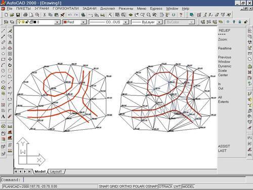 Рис. 4. Локальная реструктуризация триангуляций с автоматическим определением отметок