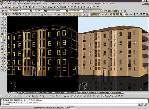 Рис.11 Каждый этаж создается в отдельном файле и затем в новом файле посредством внешних ссылок «собирается» полная 3D модель здания