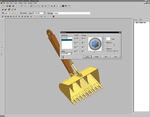 Динамические средства контроля освещения и работа с материалами в Autodesk Inventor