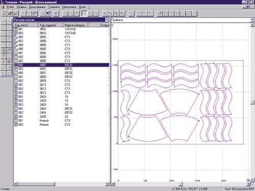 Рис.2. Окно базы данных в режиме просмотра раскроев листов