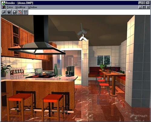 При вставке окна AutoKithcen устанавливает источник естественного освещения и «подкладывает» фоновую фотографию вида из окна