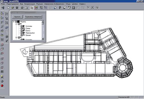 Проект «Реконструкция», вид сверху в препроцессоре «Форум»