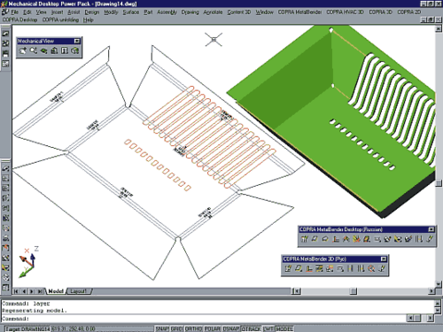 Рис.8. Конструктор может воспользоваться имеющейся библиотекой вырезов или добавить в нее собственные разделы. Можно «резать» деталь и средствами MDT, причем наносимые примитивы могут пересекать различные зоны сгибов