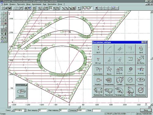 Рис.1. Построение эллиптических дуг с заданной точностью
