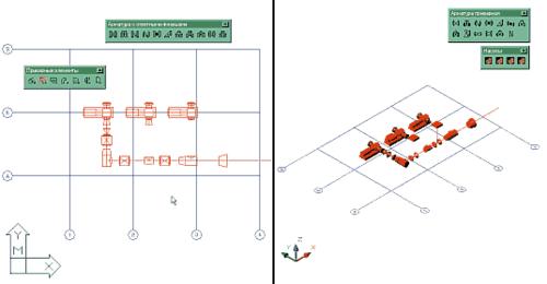 Рис. 3a. Aрматура, размещенная в PLANT-4D на осевой линии