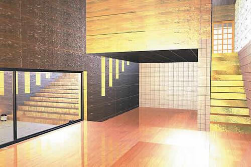 Выполненная в ArchiCAD визуализация одного из интерьеров Koshino House, архитектор Тадао Андо (Япония, 1984 г.)