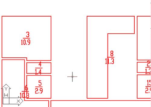 Рис. 5. Производные объекты: комнаты с привязанными атрибутами - номерами и площадями