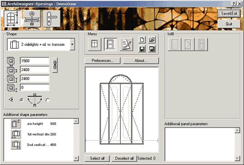 Рис. 5. Рабочее окно ArchiDesigner: Openings