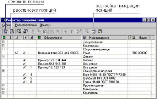 Диалоговое окно «Редактор спецификаций»