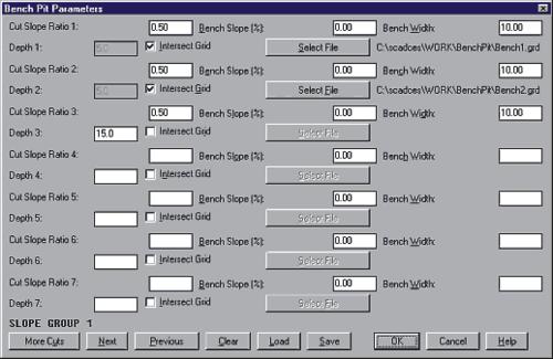 Рис. 2. Окно для ввода параметров проектирования уступов